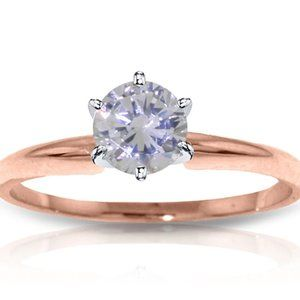 14K Rose Gold Solitaire Diamond Ring 0.40 Carat